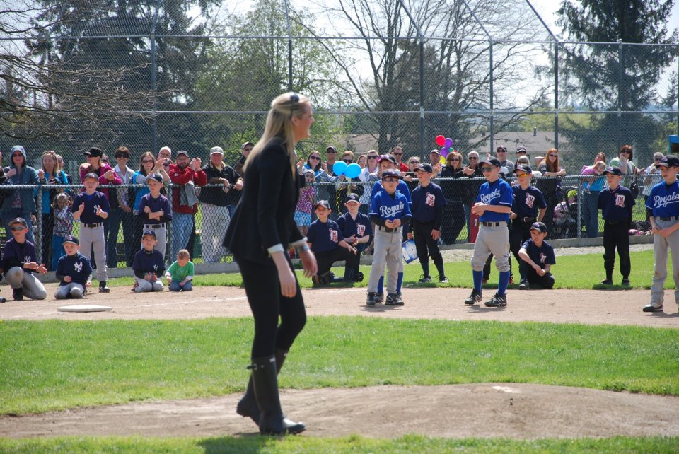 Throwing Opening Pitch Cloverdale Baseball
